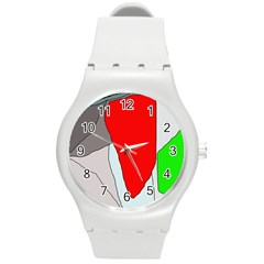 Colorful Abstraction Round Plastic Sport Watch (m) by Valentinaart