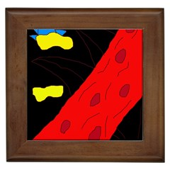 Red Abstraction Framed Tiles by Valentinaart