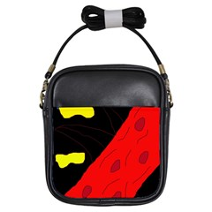 Red Abstraction Girls Sling Bags by Valentinaart