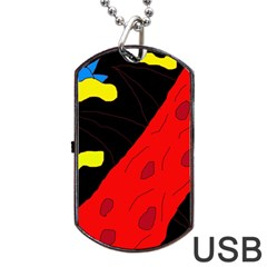 Red abstraction Dog Tag USB Flash (Two Sides)  by Valentinaart