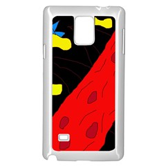 Red Abstraction Samsung Galaxy Note 4 Case (white) by Valentinaart