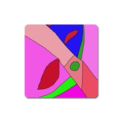 Pink Abstraction Square Magnet by Valentinaart