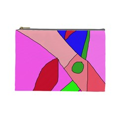 Pink Abstraction Cosmetic Bag (large)  by Valentinaart
