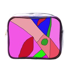 Pink Abstraction Mini Toiletries Bags by Valentinaart