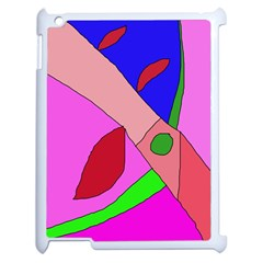 Pink Abstraction Apple Ipad 2 Case (white) by Valentinaart