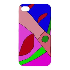 Pink Abstraction Apple Iphone 4/4s Premium Hardshell Case by Valentinaart