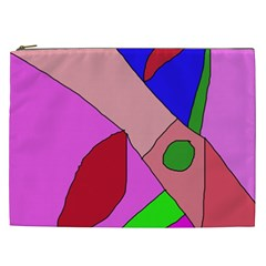 Pink Abstraction Cosmetic Bag (xxl)  by Valentinaart