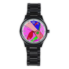 Pink Abstraction Stainless Steel Round Watch by Valentinaart