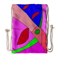Pink Abstraction Drawstring Bag (large) by Valentinaart