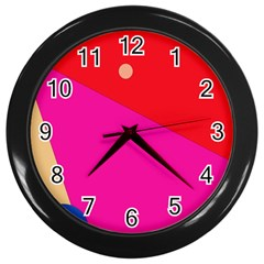 Colorful Abstraction Wall Clocks (black) by Valentinaart