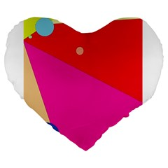 Colorful Abstraction Large 19  Premium Heart Shape Cushions by Valentinaart