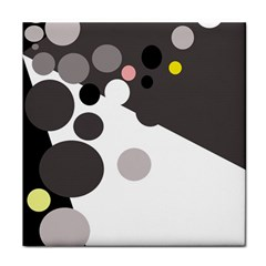 Gray, Yellow And Pink Dots Tile Coasters