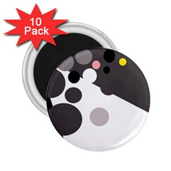 Gray, Yellow And Pink Dots 2 25  Magnets (10 Pack)