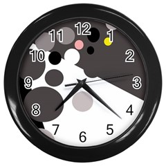 Gray, Yellow And Pink Dots Wall Clocks (black) by Valentinaart