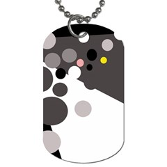 Gray, Yellow And Pink Dots Dog Tag (two Sides) by Valentinaart
