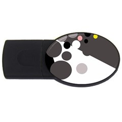Gray, Yellow And Pink Dots Usb Flash Drive Oval (2 Gb)  by Valentinaart
