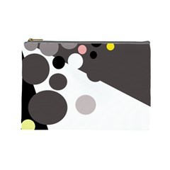 Gray, Yellow And Pink Dots Cosmetic Bag (large)  by Valentinaart