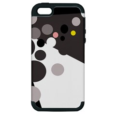 Gray, Yellow And Pink Dots Apple Iphone 5 Hardshell Case (pc+silicone) by Valentinaart