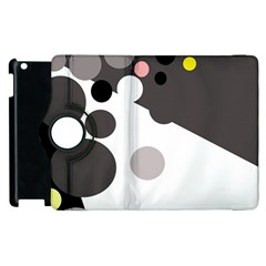 Gray, Yellow And Pink Dots Apple Ipad 2 Flip 360 Case by Valentinaart