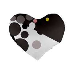 Gray, Yellow And Pink Dots Standard 16  Premium Heart Shape Cushions by Valentinaart