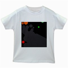 Colorful Dots Kids White T Shirts by Valentinaart