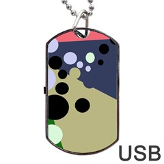 Elegant Dots Dog Tag Usb Flash (two Sides)  by Valentinaart
