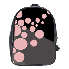 Pink dots School Bags(Large)  by Valentinaart