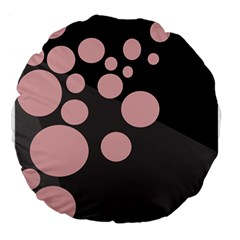Pink Dots Large 18  Premium Flano Round Cushions by Valentinaart