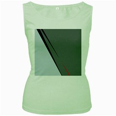 Elegant Gray Women s Green Tank Top by Valentinaart