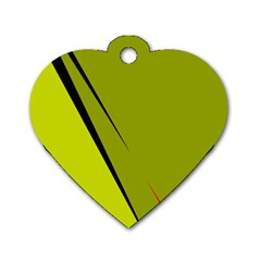 Yellow Elegant Design Dog Tag Heart (one Side) by Valentinaart