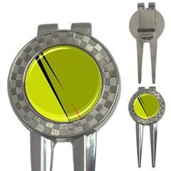Yellow Elegant Design 3 In 1 Golf Divots by Valentinaart