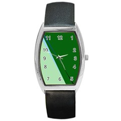 Green Design Barrel Style Metal Watch by Valentinaart