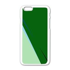 Green Design Apple Iphone 6/6s White Enamel Case by Valentinaart