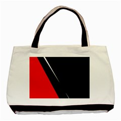 Black And Red Design Basic Tote Bag by Valentinaart