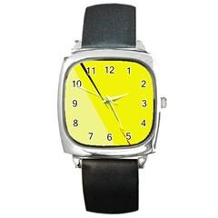 Yellow Design Square Metal Watch by Valentinaart