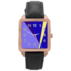 Geometrical Abstraction Rose Gold Leather Watch  by Valentinaart