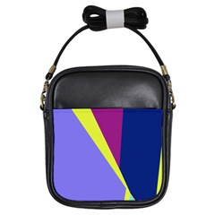 Geometrical Abstraction Girls Sling Bags by Valentinaart