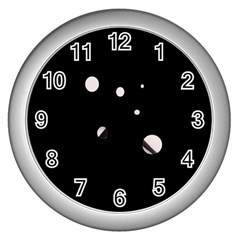 White Dots Wall Clocks (silver)  by Valentinaart