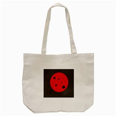 Red Circle Tote Bag (cream) by Valentinaart
