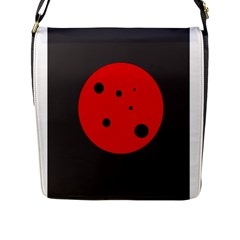 Red Circle Flap Messenger Bag (l)  by Valentinaart