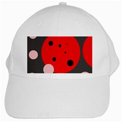 Red And Pink Dots White Cap by Valentinaart