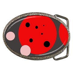 Red and pink dots Belt Buckles by Valentinaart