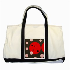 Red And Pink Dots Two Tone Tote Bag by Valentinaart