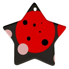 Red And Pink Dots Star Ornament (two Sides)  by Valentinaart