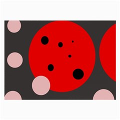 Red And Pink Dots Large Glasses Cloth by Valentinaart