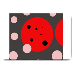 Red And Pink Dots Large Doormat  by Valentinaart