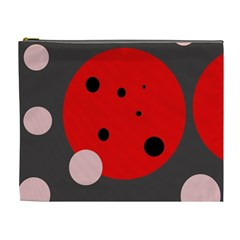 Red And Pink Dots Cosmetic Bag (xl) by Valentinaart