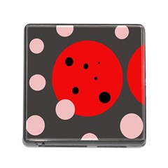 Red And Pink Dots Memory Card Reader (square) by Valentinaart
