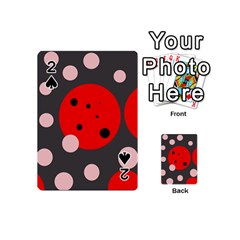 Red and pink dots Playing Cards 54 (Mini)  by Valentinaart
