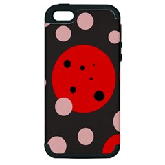 Red And Pink Dots Apple Iphone 5 Hardshell Case (pc+silicone) by Valentinaart